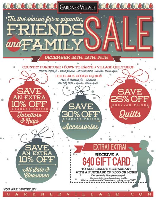 Friends and Family Sale at Gardner Village